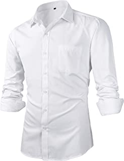 Men's Slim Fit Solid Point Collar Button Down Dress Shirts