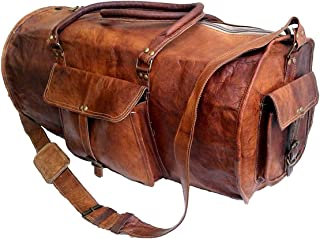"Jaald 24"" Leather Duffle Bag Travel Carry-on Luggage Overnight Gym Weekender Bag"