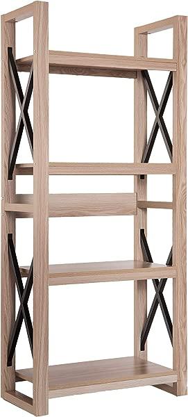 4 个置物架书柜置物架收纳书架和 X 吧台支架装饰植物花架橡木