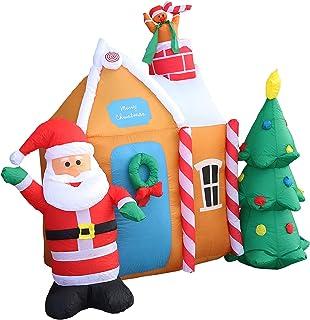 SLDHFE Père Noël gonflable avec arbre de Noël et maison, 195,1 x 180,1 cm, décoration de cour géante, pelouse gonflable po...