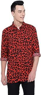 oxolloxo Men's Long Sleeve Animal Print Shirt (Red)