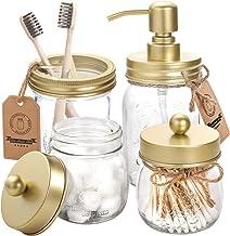 AOZITA Mason Jar Bathroom Accessories Set 4 Pcs - Mason Jar Soap Dispenser & 2 Apothecary Jars & Toothbrush Holder - Rusti...