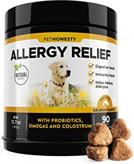 PetHonesty Allergy Relief Immunity Supplement for Dogs - Omega 3 Salmon Fish Oil, Colostrum, Digestive Prebiotics & Probiotics - for Seasonal Allergies + Anti Itch, Skin Hot Spots Soft Chews