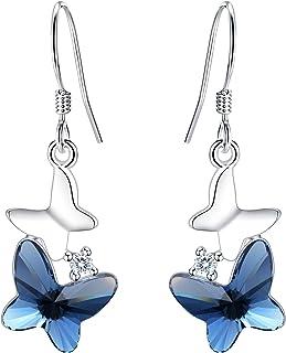 FANZE Mujer 925 Plata Esterlina Doble Mariposas Bailando Delicado Nupcial Novia Pendientes Hecho con Cristal de Swarovski