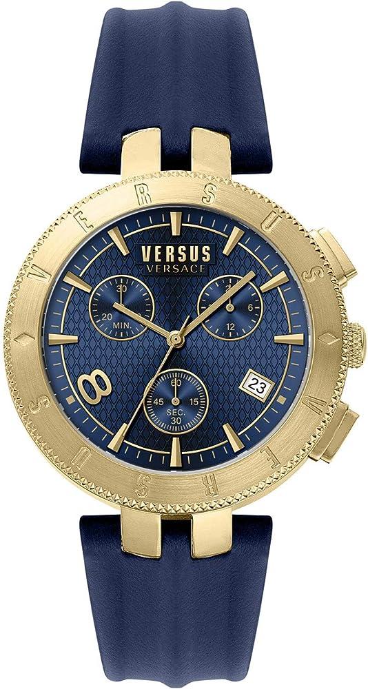 Versus by versace orologio cronografo da uomo cassa in acciaio inossidabile cinturino in pelle VSP763018