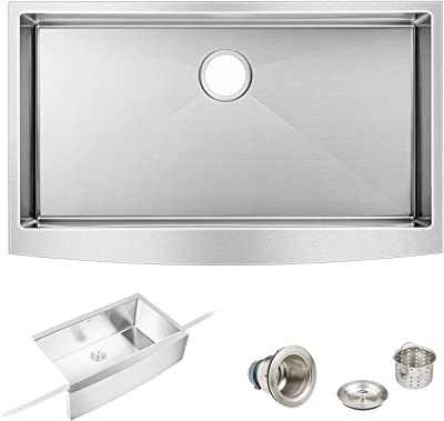 "Empava 33"" by 20"" Farmhouse Apron Front Single Bowl Undermount Kitchen Sink in Stainless Steel"