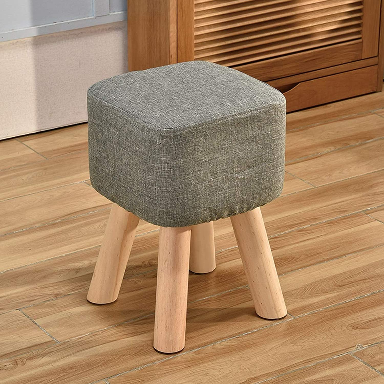 HZB Household Small Stool Creative Living Room shoes Stool Fashion Adult Square Stool Sofa Sofa Stool Bench (color   Grey Green)