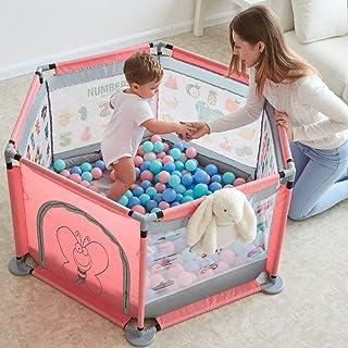 Seogva ベビーサークル プレイヤード フェンス マット付き 室内遊具 持ち運び 洗える 六角形 ジョイント式 メッシュ仕様 (大型/マットなし/ピンク)