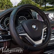 Valleycomfy Steering Wheel Covers Universal 15 inch - Genuine Leather, Breathable, Anti Slip & Odor Free (04-Black)