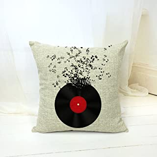 Andreannie Simple Records and Musical Notes Home Style Cotton Linen Throw Pillow Case Cushion Cover Home Office Music Bar Club Decorative Square 18 X 18 Inches