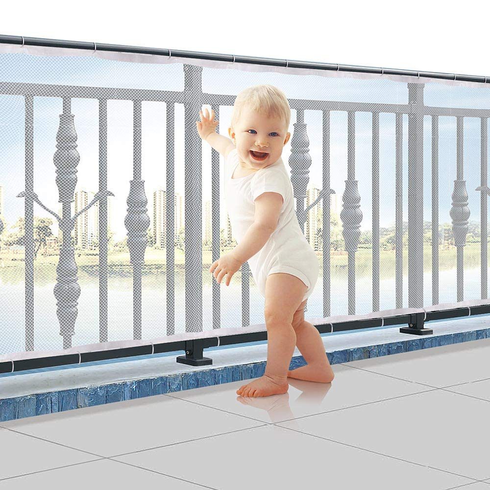 Child Proofing Banister Guard Net, Durable Baby Proofing Stairs Rail Safety Net, 10ft Lx2.5ft H Outdoor Balcony and Indoor Stair Railing Safety Mesh (White)