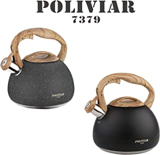POLIVIAR Tea Kettle, Black Ti/Natural Stone Stovetop Tea Kettle 2.7 Quart, Audible Whistling Teapot, Food Grade Stainless Steel and Anti Hot Handle, Suitable for All Heat Sources