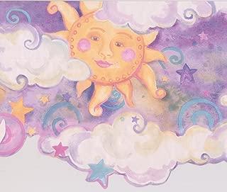 Smiling Sun Moon Purple Clouds Stars Kids Wallpaper Border Retro Design, Roll 15' x 10