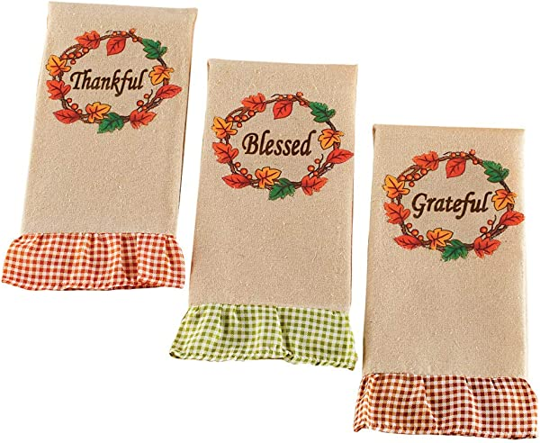 Collections Etc Autumn Blessing Ruffled Hand Towels With Gingham Design On The Bottom To Add The Perfect Amount Of Seasonal Style Set Of 3