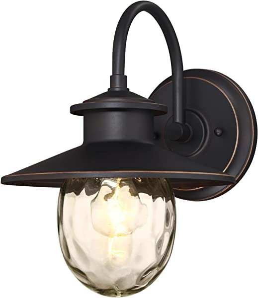 Westinghouse Lighting 6313100 Delmont One Light Outdoor Wall Fixture Oil Rubbed Bronze Finish With Highlights And Clear Water Glass