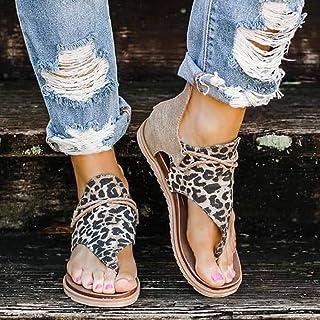 Ecolley Lightweight Sandals for Women Back Zipper Cute Summer Beach Sandals Leopard Printed Size 41