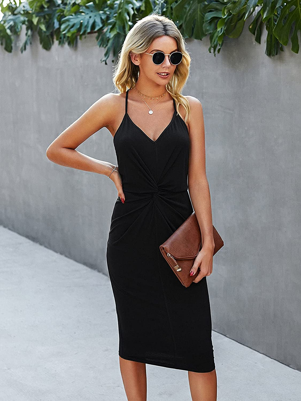 Milumia Women's Twist Front Spaghetti Strap Cami Dress Backless Bodycon Midi Dress