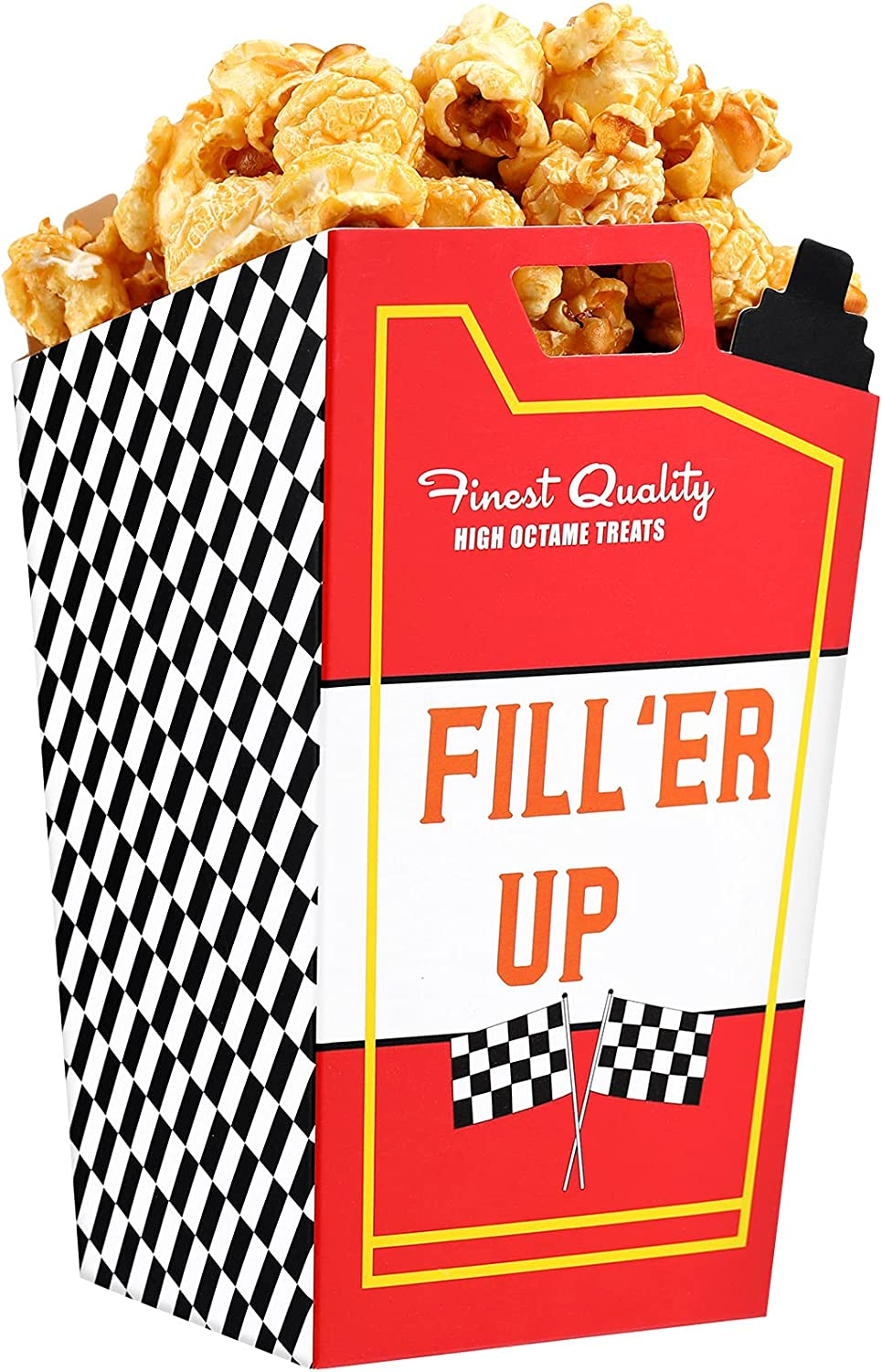 24 Pieces Race Car Fuel Can Popcorn Treat Boxes, Racing Popcorn Favor Boxes, Candy Cookie Container Goody Boxes for Birthday Baby Shower Bridal Shower Race Car Theme Party Favors Decoration