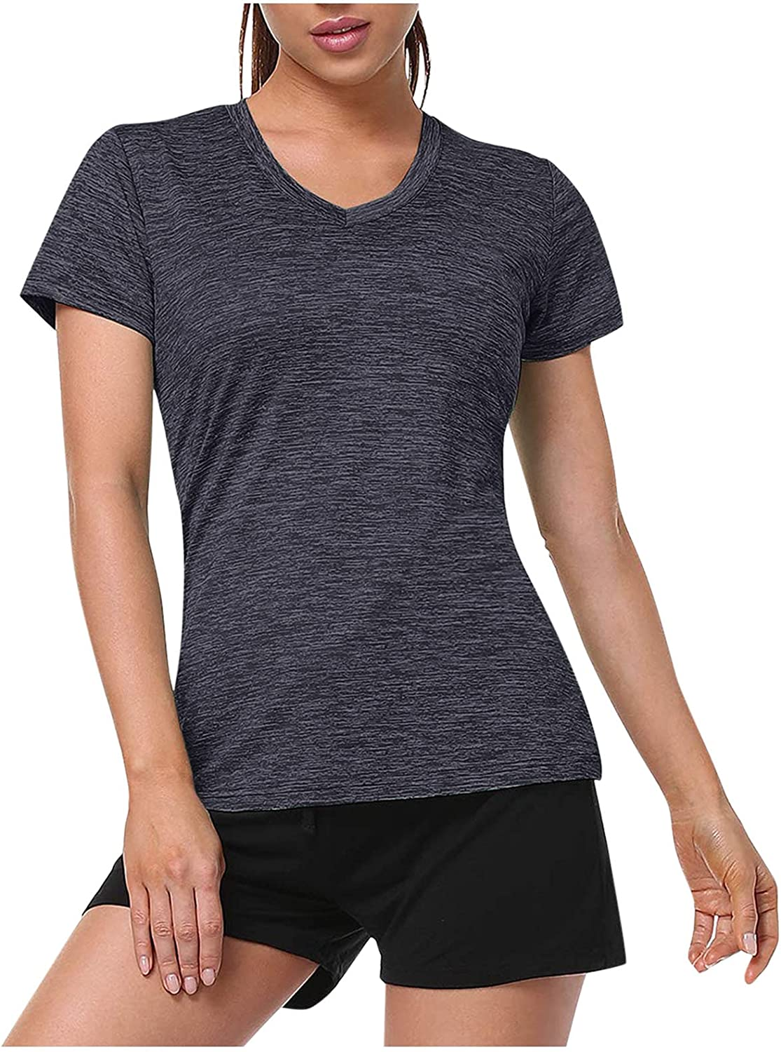Max 84% OFF Women's V Neck Popular products T Shirt Short Sleeve Moisture Sh Athletic Wicking