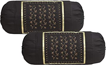 Rj Products Embroidered Cotton Bolsters Cover Coffee - Pack of 2