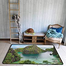 Rectangular Rug,Island Landscape of Majestic Cliff in Philippines Wild Hot Nature Resort Off Picture,Ideal Gift for Children,4'11