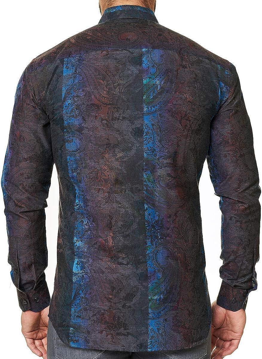 Maceoo Mens Designer Dress Shirt - Stylish & Trendy - Luxor Camo Grey - Tailored Fit