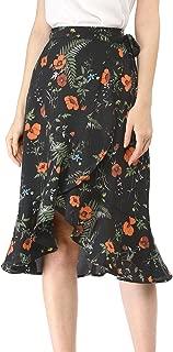 Women's Floral Print Skirts Asymmetrical Ruffle Hem Skirt