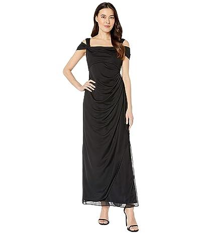 Alex Evenings Petite Long Mesh Cold Shoulder Dress (Black) Women