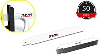 """AMAAM Reciprocating Saw Blades - Quality Heavy-Duty Bi-Metal Blades 8% Cobalt – 6"""" & 8"""" Sizes – Universally Compatible - Plastic Carrying Case - 50 Blades Included (6"""