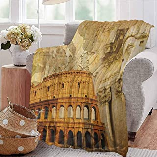 Luoiaax Retro Commercial Grade Printed Blanket Roman Empire Concept Famous Columns Sculptress Colosseum Map of The Nation Print Queen King W91 x L60 Inch Orange Brown