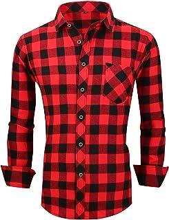 XTAPAN Men's Plaid Casual Shirts-Regular Fit Long Sleeve Checked Button Down Dress Shirts