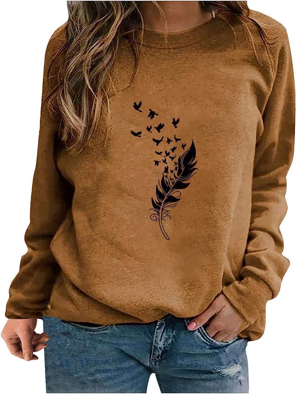 Sweatshirts for Women,Womens Crewneck Sweatshirts Graphic Feather Print Vintage Oversized Long Sleeve Pullover