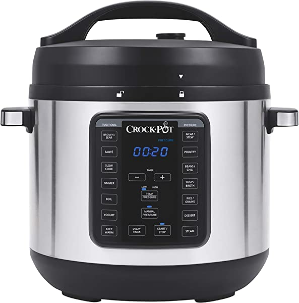 Crock Pot 8 Quart Multi Use XL Express Crock Programmable Slow Cooker And Pressure Cooker With Manual Pressure Boil Simmer Stainless Steel