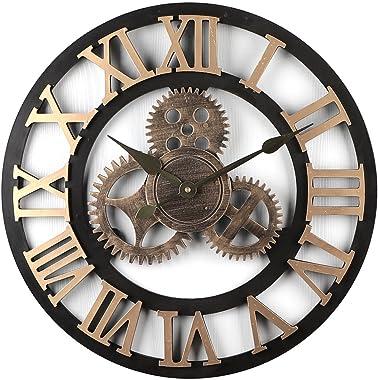 iVansa 50 cm Horloge Murale Vintage Silencieux Horloge Pendule Murale en Chiffres Romains pour Salon, Salle, Chambre, Cuisine