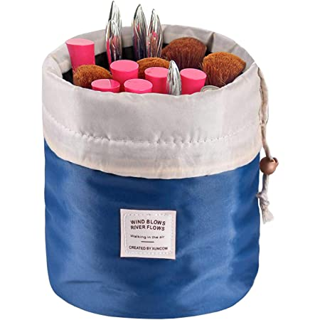 Travel Cosmetic Bags Barrel Makeup Bag Women Girls Portable Foldable Cases Euow Multifunctional Toiletry Bucket Bags Round Organizer Storage Pocket Soft Collapsible Deepblue Beauty