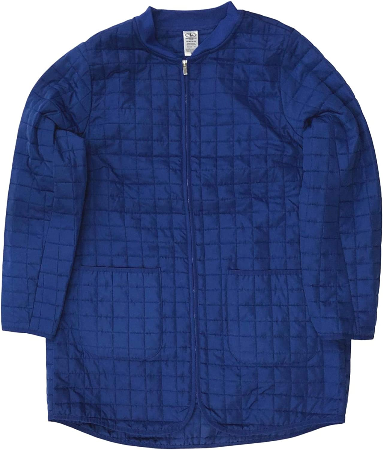 Womens Lightweight Blue Quilted Coat Long Insulated Athletic Jacket