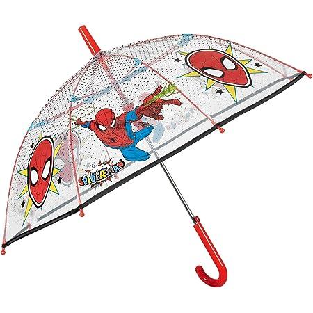 Paraguas Transparente Marvel Spiderman de Niño - Paraguas Inafntil de Burbuja Estampado el Hombre Araña - PoE Resistente Antiviento y Automatico - 3/6 Años - Diametro 74 cm - Perletti Kids