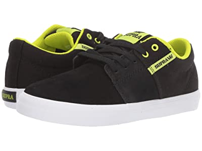 Supra Kids Stacks Vulc II (Little Kid/Big Kid) (Black/Lime/White) Boys Shoes