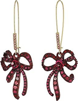 Betsey Johnson - Pink and Gold Bow Drop Earrings