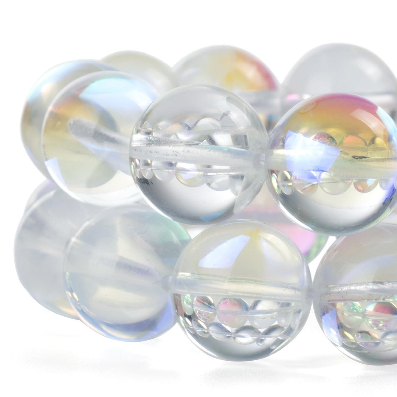 RUBYCA?Round?Moonstone?Crystal?Glass?Beads?Aura?Iridescent?for Jewelry Making?(1?strand,?6mm,?White) jhgfaoezf669855