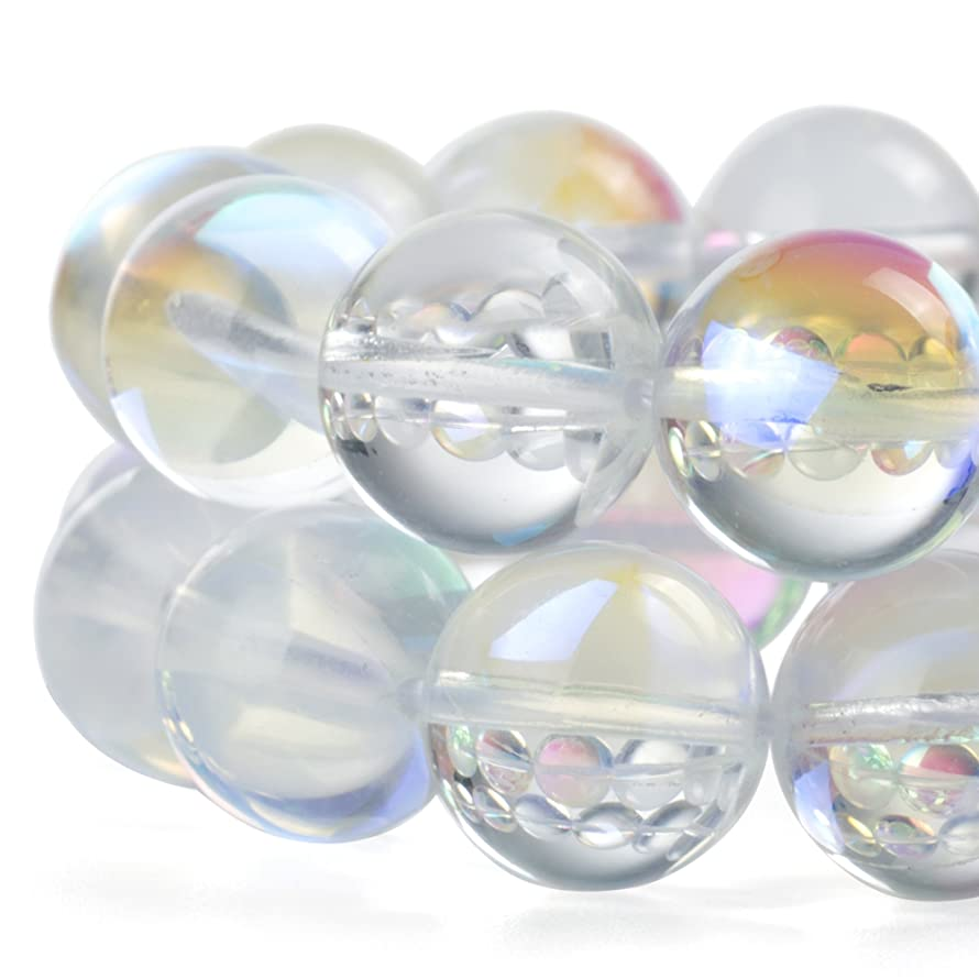 RUBYCA?Round?Moonstone?Crystal?Glass?Beads?Aura?Iridescent?for Jewelry Making?(1?strand,?6mm,?White)