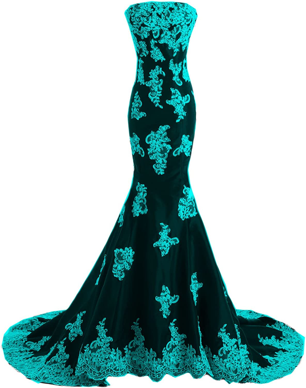 DINGZAN Black and White Applique Mermaid Long Mother of the Bride Prom Dresses