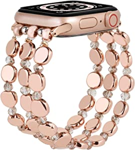 MOFREE Compatible for Apple Watch Bracelet Band 44mm/42mm Women Series SE/6/5/4/3/2/1 Fashion Handmade Elastic Stretch Strap Compatible for iPhone iWatch Bands 44mm/42mm Rose Gold