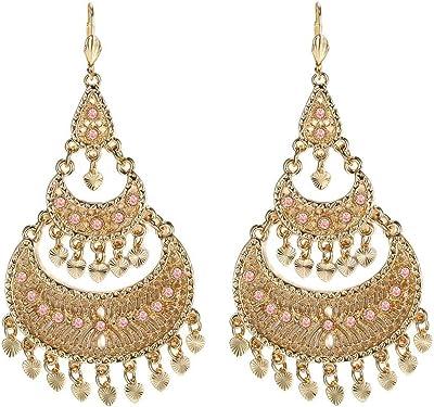 Bobijoo Jewelry – Modello Flamenco – Orecchini pendenti da donna, placcati oro