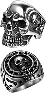 2Pcs Bikers Stainless Steel Gothic Skulls Ring,Black Silver, Size 8-15