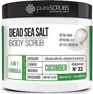 pureSCRUBS Premium Organic Body Scrub Set - Large 16oz CUCUMBER BODY SCRUB - Dead Sea Salt Infused Organic Essential Oils ...