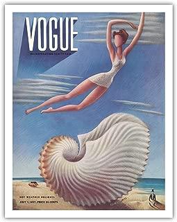 "Pacifica Island Art Vogue Magazine Cover - 1937 年 7 月 - Surreal Beach Fantasy - Miguel Covarrubias 创作的复古杂志封面 c.1937 - 精美艺术印刷品 11"" x 14"" APB9363"