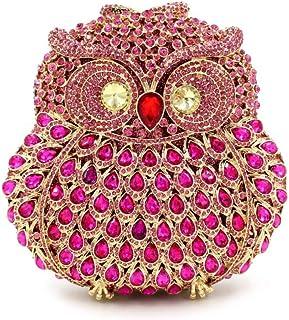 Women's Owl Rhinestone Evening Bag, Clutch, Crossbody Bag, Suitable for Weddings, Party (Color : E)