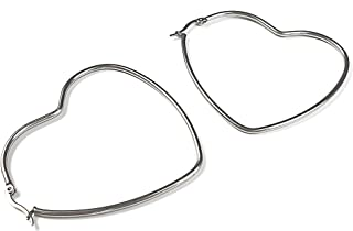 Silver Heart Hoop Earrings for Women - 1 Pairs 60mm Stainless Steel Heart Shaped Hoop Earrings, Great for Shopping, Dating and Daily Wear (Hoop 60mm / 2.36inch)