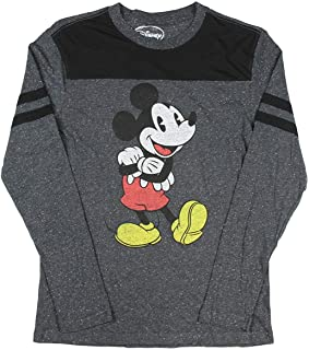 Mickey Mouse Disney Retro Vintage Licensed Charcoal Speckle Long Sleeve T Shirt (Large)